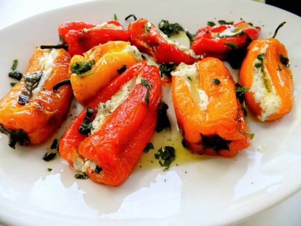 peppers and goat cheese