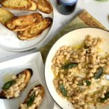 White Bean Crostini with Frizzled Sage