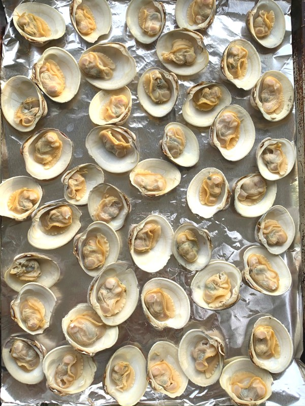 prepped clams