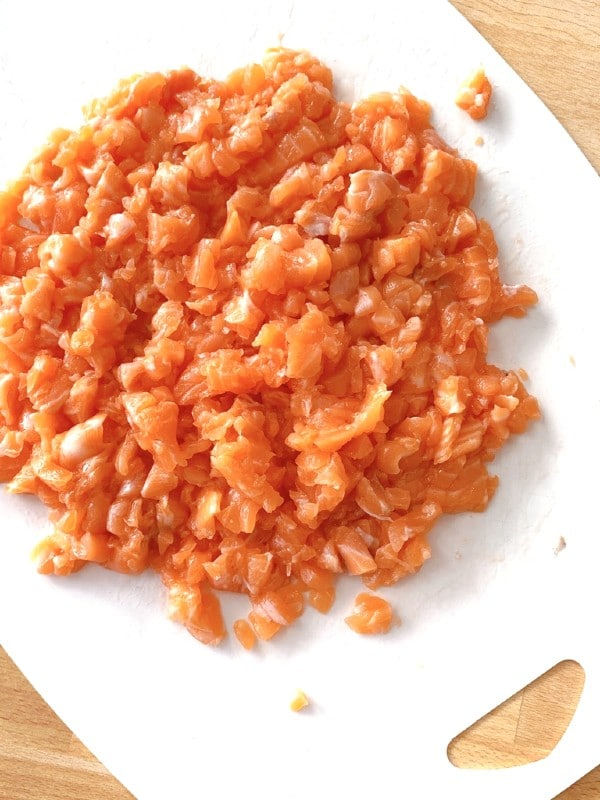 chopped up salmon