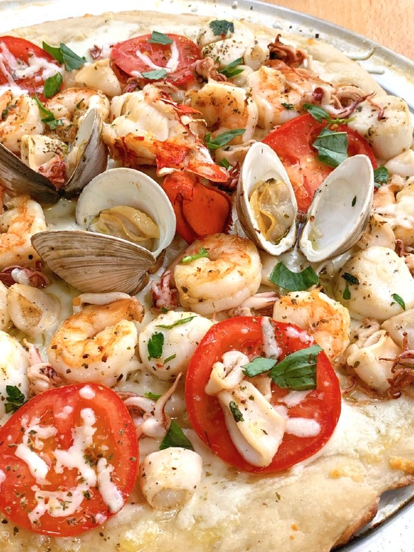 grilled seafood on pizza