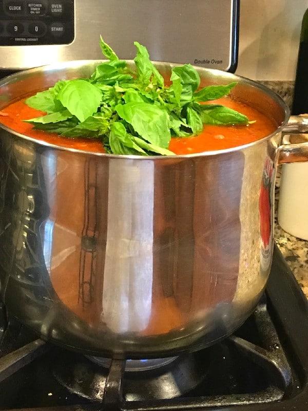 large pot of sauce